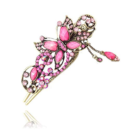 ShungFun Women Vintage Metal Bronze Butterfly Pattern Hollow Carving Hair Clips Retro Pigtail Spring Clips Hair Holders w/Rhinestones Pigtail Clips Hairpieces Hair Barrettes (Pink) -