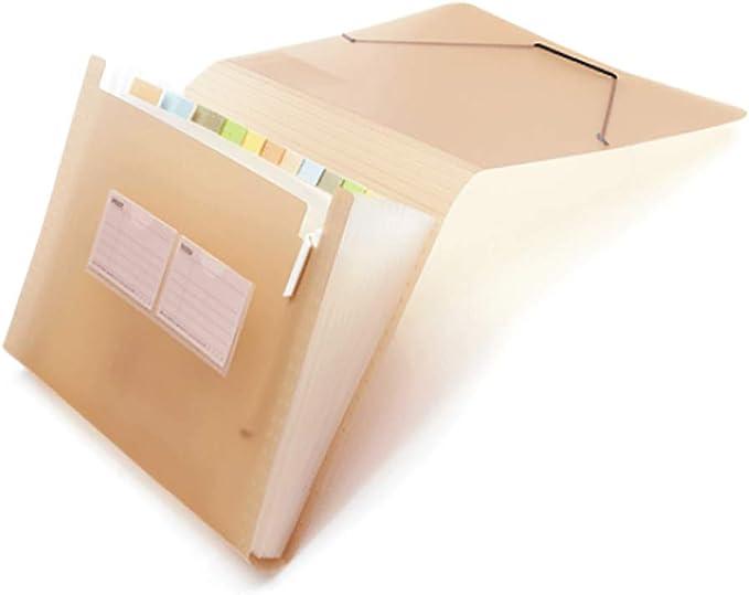 con goma el/ástica de polipropileno color caqui 33.3 x 24.8 x 4 cm LxBxH ampliable Carpeta para documentos con 12 compartimentos tama/ño A4 resistente al agua