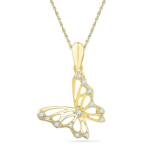 Sonia Jewels 10k Yellow Gold Round Diamond Butterfly Bug Pendant 1/12 Cttw