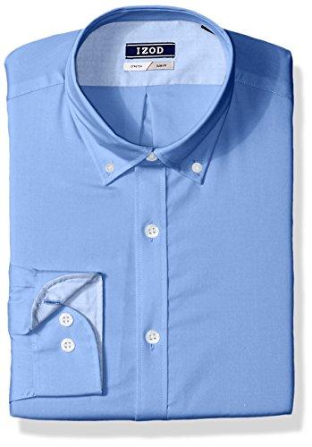 Izod Cotton Shirt - IZOD Men's Slim Fit Solid Button Down Collar Dress Shirt, Cornflower, 15.5