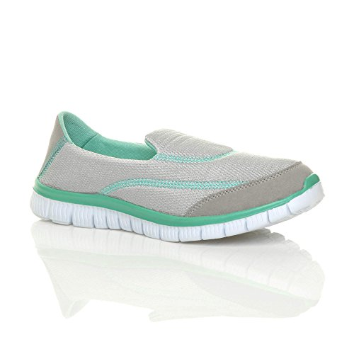 Ajvani Womens Ladies Flat Gym Sport Slip on Memory Foam Comfort Shoes Trainers Sneakers Size Grey M2erdPHge