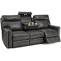 Lane Lombardo Home Theater Multimedia Leather Sofa with Power Recline, Power Headrests, Fold Down Table, and USB Charging (Gray)