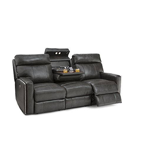Seatcraft 72-110E-71179859 Lombardo Leather Home Theater Seating Sofa, Power Recline with Adjustable Powered Headrests and Fold Down Table, Grey ()