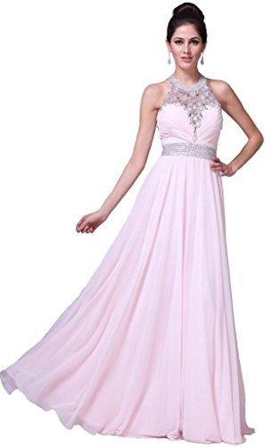 Meier Women's Halter Rhinestone Open Back Pageant Prom Party Dress Blush-8