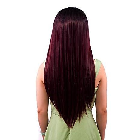 """24"""" Ombre largo recto sintético pelucas de pelo natural recto resistente al calor para las"""