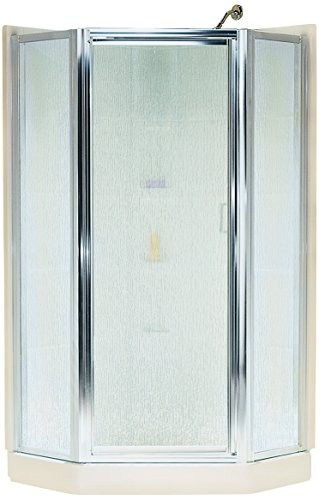 STERLING SP2276A-38S Intrigue Neo-Angle Shower Door, Silver with Rain Glass Texture