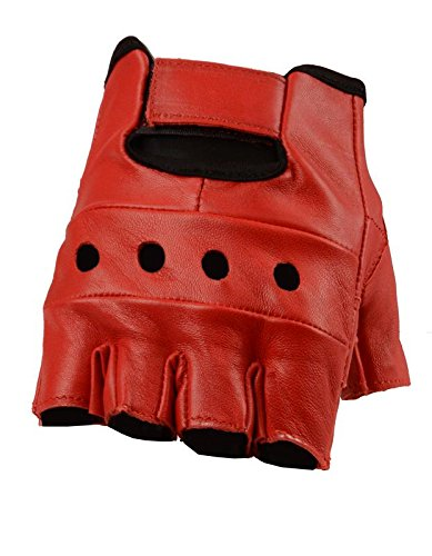 Leather Fingerless Gloves, Soft Lambskin Leather (Red, L)