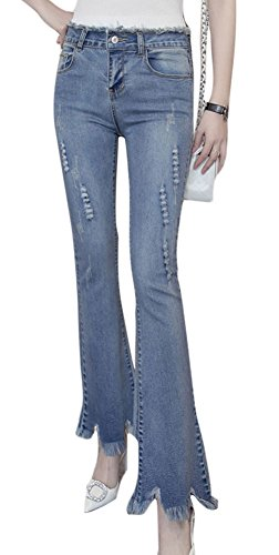 Plaid&Plain Women's High Waist Fringe Hems Flare Jeans Flared Denim Jeans Blue 12