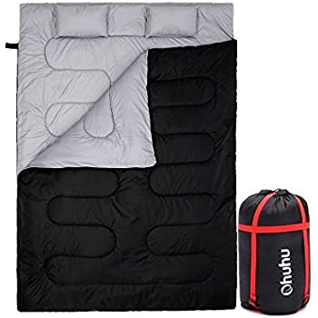 Ohuhu Double Sleeping Bag with 2 Pillows and a Carrying Bag - waterproof lightweight 2 person sleeping adult bag for Camping, Backpacking, Hiking