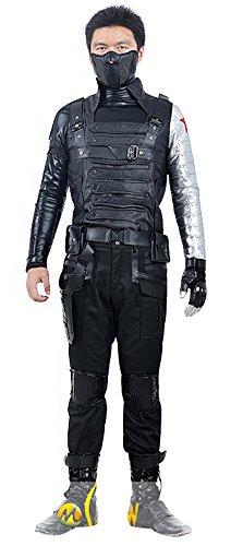 Mtxc Men's Captain America Cosplay Costume Winter Soldier/Bucky Full Set Size Medium Black