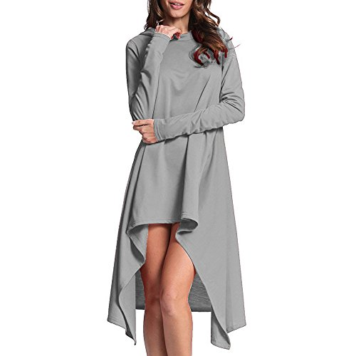 Price comparison product image Clearance Sale!Toimoth Women Loose Long Hooded Tops Sweatshirt Hoodie Sweater Asymmetric Blouse(Gray,S)