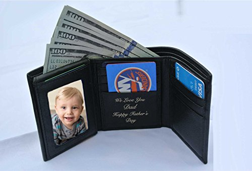 Engraved Black Leather (Personalized Black Leather Tri-fold Wallet Engraved Free)