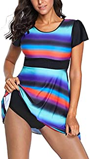 ADEWEL Women's Color Block Striped Plus Size 2pcs Tankini Set Swimsuit Swim
