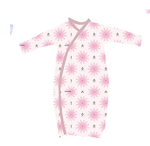 Organic Kimono Dress - 2 Pk 100% Organic Cotton Kimono Gown for Girl with Easy Change Snaps and Built in Mitts, Pink Floral Arrows and Hearts (3-6 Months)