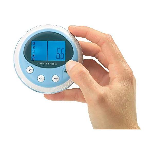 Pastillero vibrador profesional con alarma de pitido y vibración, reloj despertador (5 alarmas/día) 10