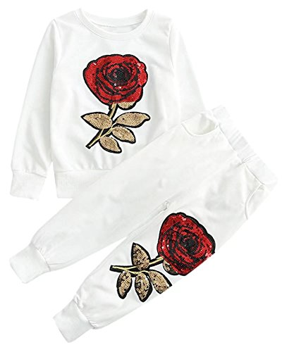 2 Pieces Sweatshirt & Jogger Pants Set Sweatsuit with Rose Embroidery, Mommy & Me Mom & Baby Parent Child Family Matching Look Clothes Outfit, White, Tag 130 = 5/6 Years -