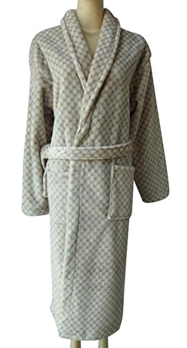 COGO Men's Soft Check Printed Flannel Belt Long Sleepwear Bath Robe Pajama L