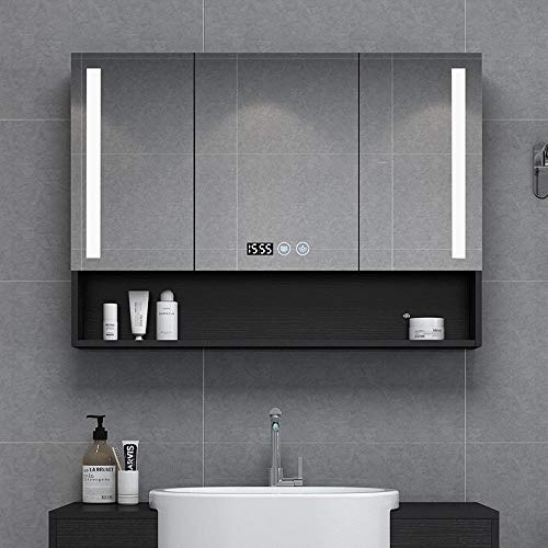 QWERTY Home Bathroom Cabinet,LED Illuminated Bathroom Mirrors,Mirror Cabinet with Demister Heat Pad -