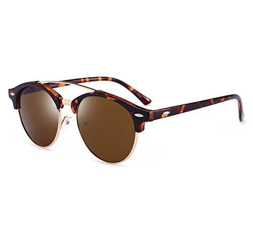 vent protègent le cadre Léopard Worclub de classique moitié polarisé lunettes frais de demi soleil Marron Les de par UV400 YXAaW0x