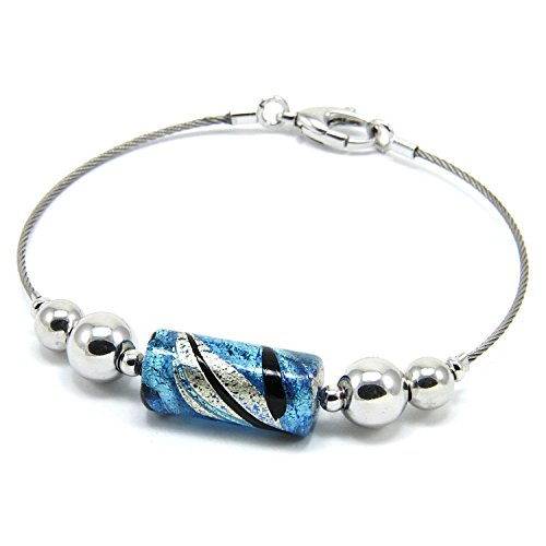 Woman's bracelet in 925 silver rhodium plated, Murano glass enhanced by a white gold leaf (made in Florence) . BAR021/W01