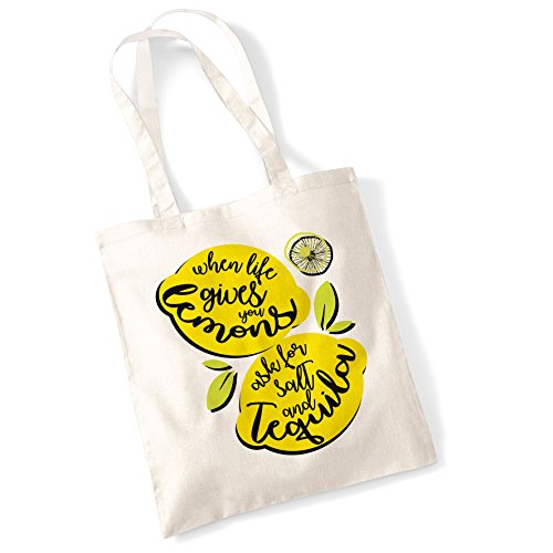Tote Bags For Women When Life Gives You Lemons Printed Cotton Shopper Bag Gifts Natur
