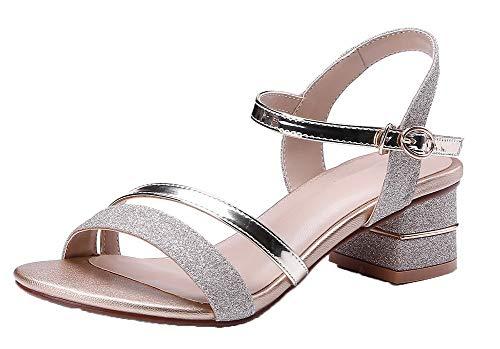 Color Gold Assorted Toe Women Blend Open Materials VogueZone009 Sandals Buckle OIq7H