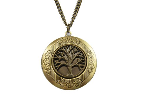 (Antique Brass Life Tree Photo Locket Necklace Pendant Gift Vintage)