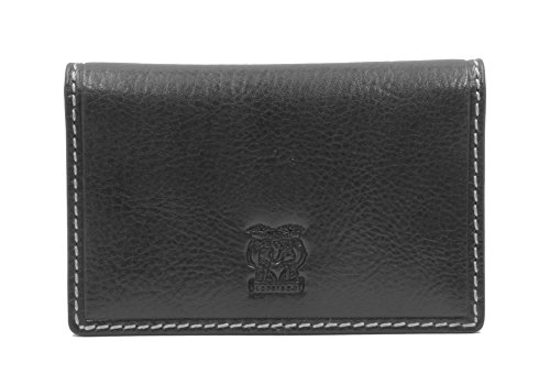 CAPPIANO Vegetable Tanned Leather Business & Credit Card Wallet Holder - Black