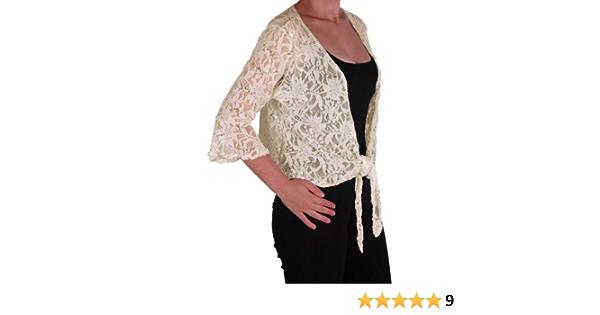 Eyecatch Darcey Damen Pailletten Cardi Tie Shrug Lace Strickj/äckchen Bolero Top Frauen Mint Grun Plus Size 44-46