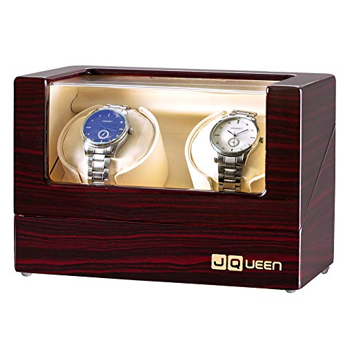 JQUEEN Watch Winder with Quiet Motors (Brown+Brown) (Orbita Watch Battery Winder)