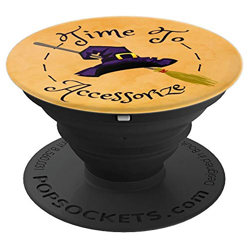 Witch Broom Hat Funny Halloween Orange Time To Accessorize - PopSockets Grip and Stand for Phones and Tablets