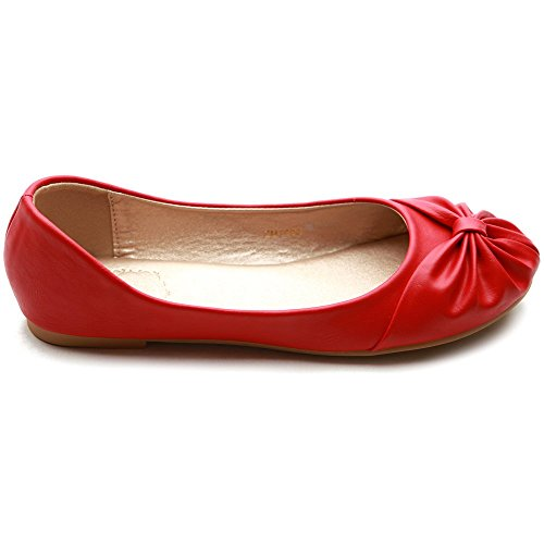 Ollio Cute Shoe Down Comfy Ballet Ribbon Red Women's Flat rO76qwr