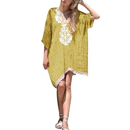 KLHNU Women Dress Summer Ladies V Neck Boho Beach Dresses(Yellow,S) ()