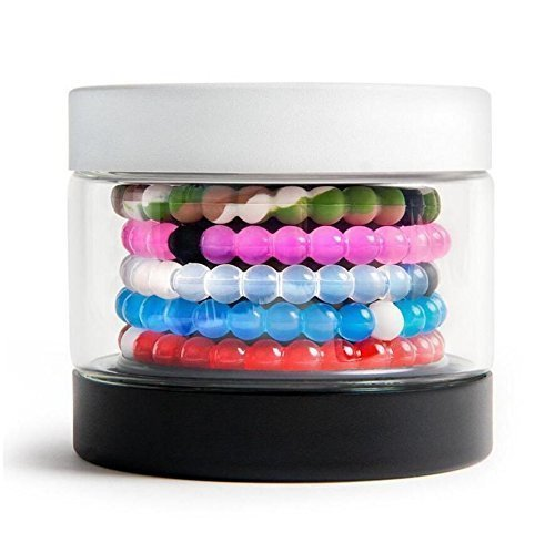 Transparent Silicone Beaded Bracelet Medium of 5 (White+Blue+Pink+Camo+ Red) by Perfect Balance