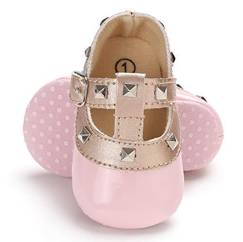 LIVEBOX Infant Newborn Baby Girl Shoes, Premium Soft Anti-Slip Crib Shoes Prewalker Toddler Shoes Mary Jane Princess Dress Shoes for 0-18 Months Babies Pink