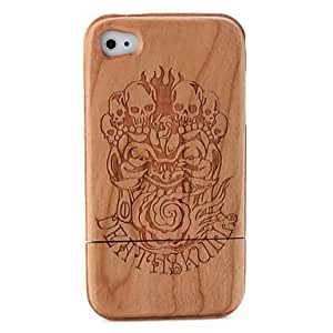 Carving Skeleton Pattern Wooden Case for iPhone 4 / 4S
