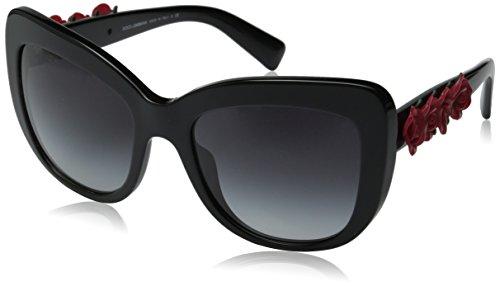 D&G Dolce & Gabbana Women's 0DG4252 Square Sunglasses, Shiny Black, 55 - Rose Gabbana And Sunglasses Dolce