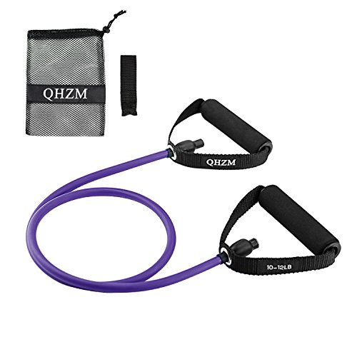 #FFFFFFT Resistance Bands for Training, Physical Therapy,Workout Home Fitness, Pilates - Exercise Tube Cords Band with Door Anchor/Carry Bag (purple, 10-12 LB)