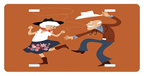 Lunarable Country License Plate, Senior Old Couple with Western Costumes Dancing Partying Square Dance Contradance, High Gloss Aluminum Novelty Plate, 5.88 L X 11.88 W Inches, Multicolor]()