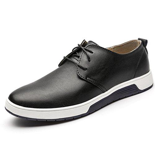 qianchuangyuan Chaussures de Ville pour Hommes Neuves Cuir PU à Lacets Bout D'affaires Oxfords Chaussures Noir1 X4nkN