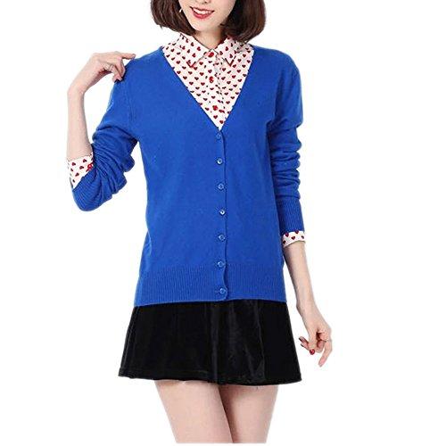 Cardigans Basic Blue Klein V Collar Cashmere Wool Blend Fine Button Uni Sizes S-XXXL Wool & Cashmere Blend Cardigan