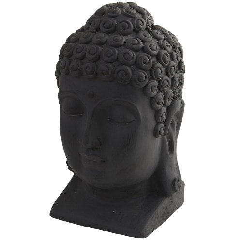 Nearly Natural 4983 Indoor/Outdoor Buddha Head, Black>