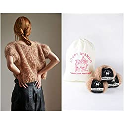 Loopy Mango DIY Knit Kit - Small/Medium Puff Sleeve Top - Mohair So Soft (Tiramisu)