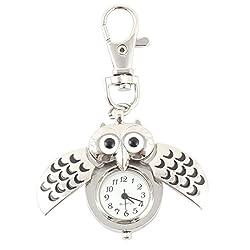 uxcell Mini Key Ring owl Quartz Watch Clock- Silver