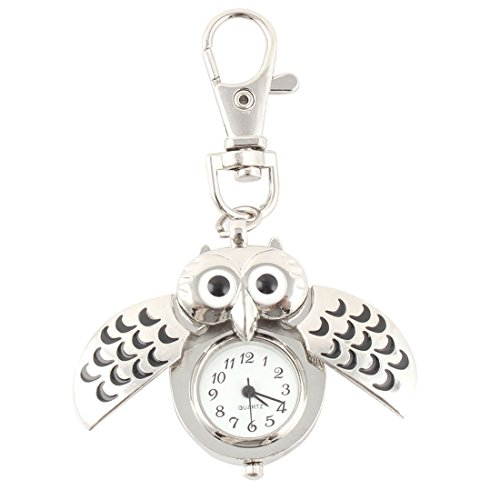 uxcell Mini Key Ring owl Quartz Watch Clock- Silver ()