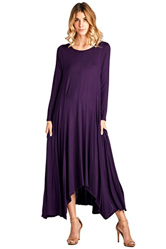 12 Ami Solid Long Sleeve Pocket Loose Maxi Dress Dark Purple XL (Purple Dress Clubwear)