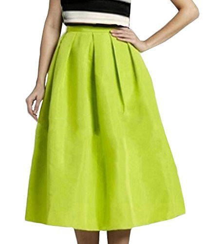 (Face N Face Women's High Waisted A line Street Skirt Skater Pleated Full Midi Skirt,Large, Chartreuse)