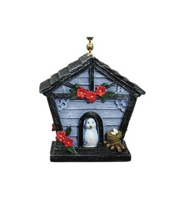 Little Blue Birdhouse With Bird Decorative Ceiling Fan Pull
