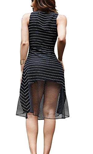 A Delle Righe V A Con Nera Up Modo Abiti Sexy Lace Scollo Jaycargogo Maglia Donne q8HfwP5