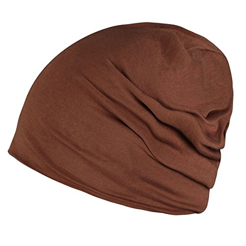 Dark Brown Cotton Beanie Skull Cap for Summer Hats - Brown Cotton Beanie